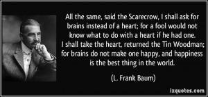Wizard of Oz Scarecrow Brain Quotes