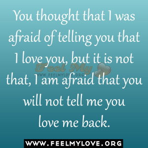 You thought that I was afraid of telling you that I love you, but it ...