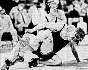 During a dual against Minnesota, Iowa wrestler Tom Brands won his ...