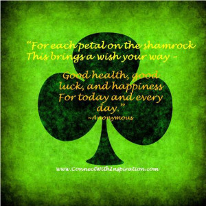 St Patrick's Day Quote, Inspirational Quote, Petal on the Shamrock