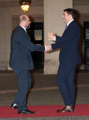 Matteo Renzi Italian Prime Minister Matteo Renzi R meets European