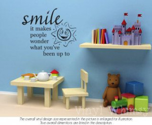 Vinyl Wall Art Quote Smile It Makes People Wonder by VinylWhimsy, $10 ...