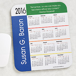 ... Calendar Primary Colors Border Mouse Pad with Custom Quote - 4233