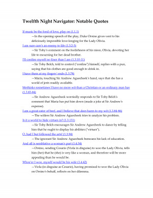 Twelfth Night Navigator Notable Quotes by qingqinglxkc