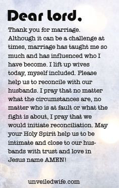 Prayer Of The Day – Reconciling With Your Husband --- Dear God ...