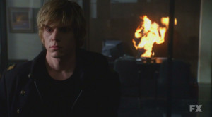 ... sets Larry on fire on American Horror Story Tate sets Larry on fire