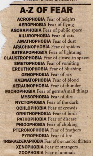 ... phobia, public space, read, sex, small things, spiders, strangers