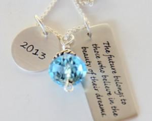 Inspirational Dream 2013, Graduatio n Necklace - Future Dream Quote ...