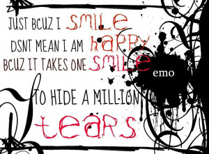 Smile and Tears Emo Quote wallpaper background