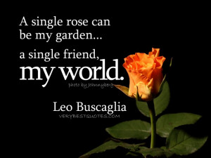 single rose can be my garden... a single friend, my world. Leo ...