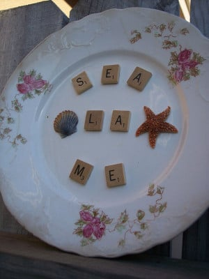 ... and Vintage Scrabble Pieces Mimic Quote Say La Vie for Sea La ME