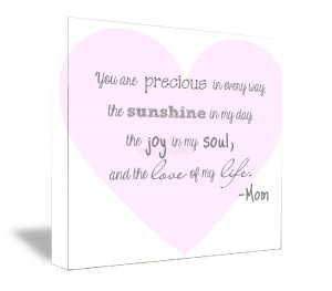 FRAMED CANVAS PRINT (Gray letters) You are precious in every way, the ...