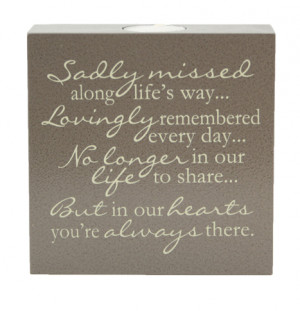 Sadly Missed - Memorial Tealight Candle