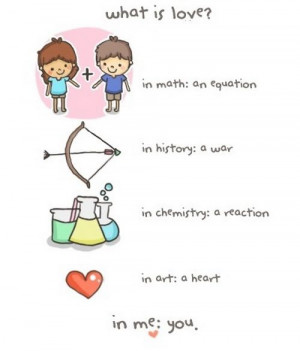 What is Love? In Math: an equation; in History: a war; in Chemistry ...