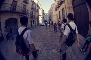 backpacks, city, guys, skateboarding, skateboards