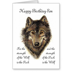 Custom Son Birthday Wolf Pack Family Quote Cards