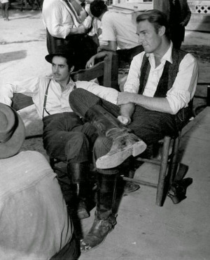 ... Power and Randolph Scott on the set of JESSE JAMES (Henry King, 1939