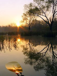 Double reflection: The sun is reflected in the water, which is ...