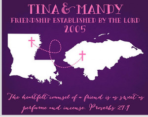 Long Distance Friendship Quote Gifts For Friends in ANY Two States Map ...
