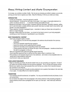 Essay Writing Content and Quote Incorporation