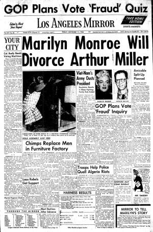 Arthur Miller Marilyn Monroe divorce information published in Los ...