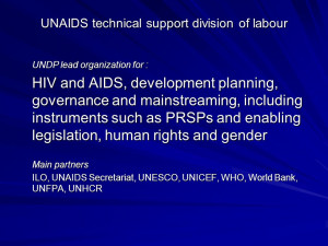 UNAIDS technical support division of labour UNDP lead organization for ...
