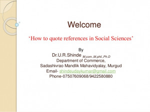 How to quote reference in social science