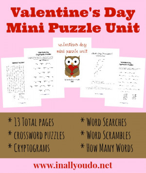 free} Valentine's Day Mini Puzzle Unit (PreK-5)
