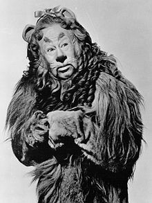 Lahr as the Cowardly Lion in the MGM feature film The Wizard of Oz ...