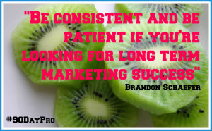 Be consistent and be patient if you're looking for long term marketing ...