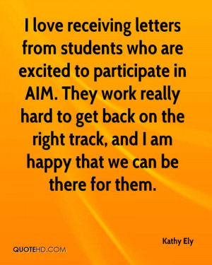 love receiving letters from students who are excited to participate ...