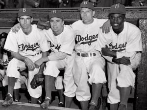 From left: Spider Jorgenson, Pee Wee Reese, Eddie Stanky and Jackie ...