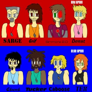 Red Vs. Blue Line Up by LateNightBandicoot