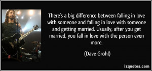 ... someone and getting married. Usually, after you get married, you fall