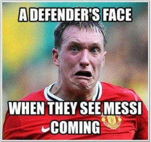 Funny football/soccer meme – a defenser's face when he sees Messi ...