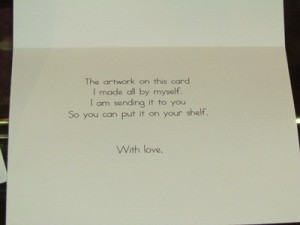 Thank you Card - note inside