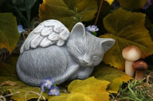 Angel Cat Statue - Pet Memorial Marker. $24.99, via Etsy.