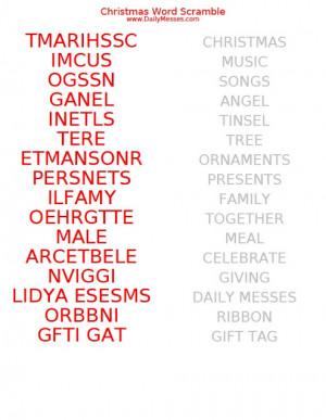 christmas word scramble