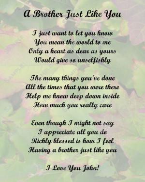 Brother Poem Love Poem Digital INSTANT DOWNLOAD - On Sale!!