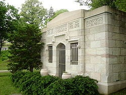 Lorimer's tomb in Laurel Hill Cemetery overlooks the Schuylkill River ...