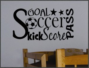 Vinyl Wall Quote Decal Soccer Collage Word Art