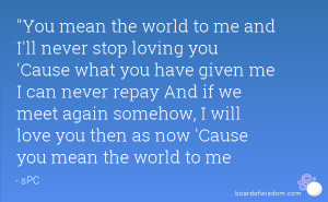 ll never stop loving you 'Cause what you have given me I can never ...