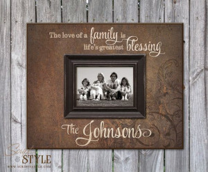 Frame with Family Name & Quote, Family Picture Frame, Personalized ...