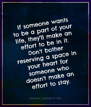 If someone wants to be a part of your life