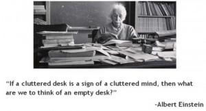 messy desk einstine