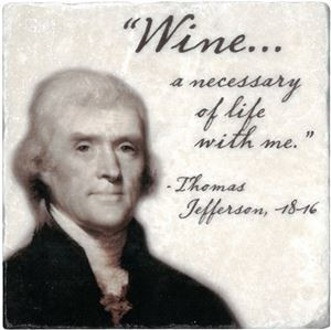 Marble Tile with Thomas Jefferson's Wine Quote