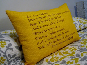 Customizeable Lyric Pillow, Dave Matthews- The Best of Whats Around