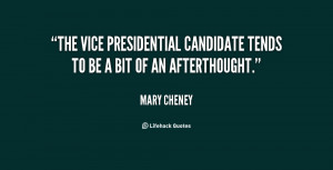The vice presidential candidate tends to be a bit of an afterthought ...