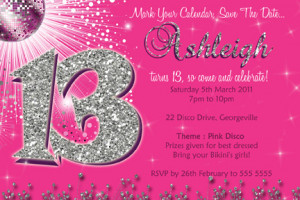 13th birthday party invitation for girls