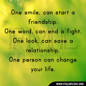 One smile, can start a friendship